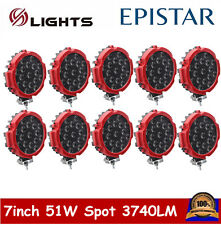 10X 7inch 51W LED Work Light Round Thin Off-road Driving SUV UTE JEEP Truck Lamp