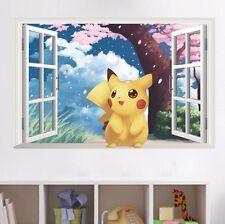 Anime Pikachu Pokemon Window Scenery Mural Wall Sticker Decals Child Room Decor