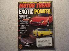 Motor Trend 1999 August De Tomaso Mangusta Ferrari 360 Maserati Jeep Lincoln