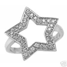 Gorgeous 0.35Ct Diamond Right Hand Cocktail Ring 14K White Gold Star