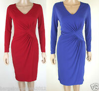 Ladies Wrap Dress -  Red Blue Size 8 Ex BETTY JACKSON Drape Jersey Shift Party