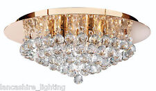 Hanna Gold Flush Ceiling Light With Crystal Ball Droppers - Hanna Ceiling Light