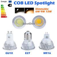 1/10/20/50X Dimmable 6W 9W 12W COB MR16 GU10 E27 LED Spotlight Lamp Down Lights