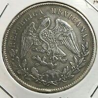 1898 AM MEXICO SILVER UN PESO CROWN COIN