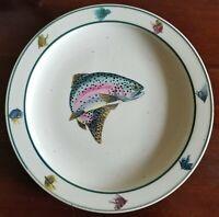 "Rainbow Trout Folkcraft Stoneware by Scotty Z - Dinner Plate 11"" - Cabin Decor"