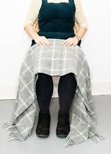 100% Wool Windowpane Check knee rug small blanket throw Yellow Grey Navy Green
