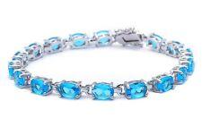 13.5CT Oval Cut Elegant Blue Topaz .925 Sterling Silver Bracelet