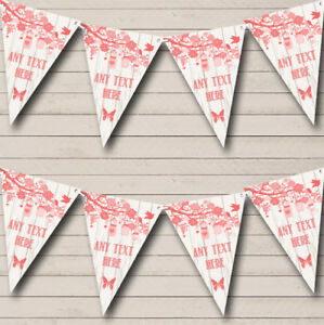 Shabby Chic Vintage Wood Coral Personalized Wedding Bunting Flag Banner
