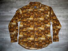 Vintage Woolrich Men's Button Front Long Sleeve Woodcut Boxes Shirt Size Medium