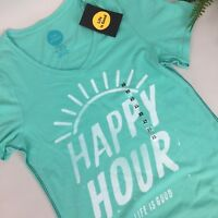 Life is Good Womens XS Happy Hour Green Cotton T-Shirt Short Sleeve New