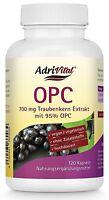 Adrivital OPC Traubenkernextrakt, 120 Kapseln, Vitamin P, hochdosiert, vegan