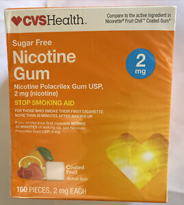 CVS Health Nicotine Gum coated fruit flavor 2mg 160 pieces Expires 5/2022