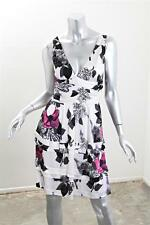 ROBERTO CAVALLI Womens White Rayon Knit Floral Deep V-Neck Mini Dress 44 NEW
