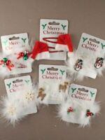 Christmas Hair Sleepies Bendies Snap Clips Grips Assorted Designs Red White 5cm
