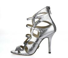 MICHAEL KORS runway 211426 Silver Snake Print Leather Gladiator Sandals Size 37