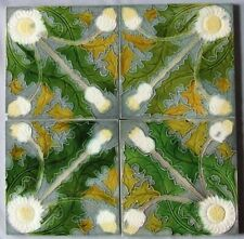 Vintage Belgian Art Nouveau Tile Panel White and Yellow Dandelion Flowers