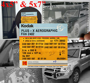 "KODAK PLUS-X AEROGRAPHIC Film 2402 4x5"", 100 sheets"