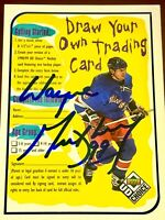 Wayne Gretzky NHL auto autograph signed hockey card Edmonton Oilers NY Rangers +