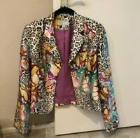Alberto Makali Size 8  Silk Jacket Blazer  Leopard Floral Cream Orange Lined