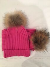 New Women's Pink Racoon Fur Pom Pom Cable Knit Hat & Scarf by Somerville Scarves
