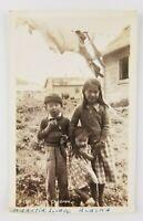 Postcard Real Photo Aleut Children Ahautia Island Alaska