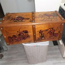 Vintage 1950's Strand Wooden Toy Chest Cowboys, Indians, Horses Painted Western