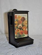 Black Metal Wood MATCH TIN holder LITTLE GEM flower Seeds Vintage Advertisement