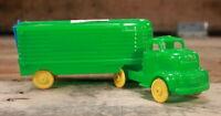"Vintage: Green Hard Plastic Semi Truck Trailer w/ Banner Logo - 7"""