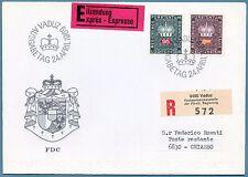 LIECHTENSTEIN - Servizio - 1968/69 - Corona e cifra - 95 r. e 2 fr.