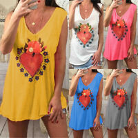 Womens Plus Size Casual Sleeveless Tunic Tee Loose Vest Tank Tops Blouse T Shirt