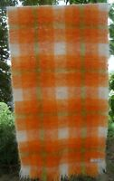 Vtg HUDSON BAY MOHAIR BLANKET THROW SCARF SHAWL SCOTLAND Tartan Orange Green