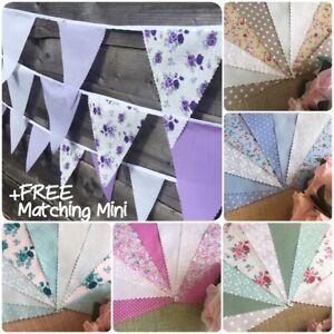 Fabric Bunting Handmade Wedding Vintage Tea Party Florals + Custom Mini buntings