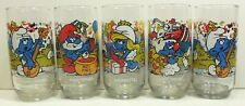Lot of 5 Vintage 1980's Smurf Tv Cartoon Promo Character Drinking Glasses