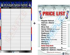 Barber Posters - Customer Registration Board + Barber Price List Laminated 24x36