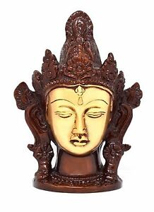 Tibetan Tara Buddha Head Bust Brass Statue Antique Finish Buddhism Idol Figurine