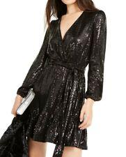 NWT $165 MICHAEL Michael Kors Sequin Mirror Dot Crossover Dress Black S