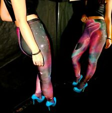 630cb3b976871 Shiny, Pink Poly Spandex Leggings, Multi Color Cosmic Dolfin Print, M