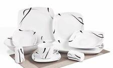 Geschirr Tafelservice 40tlg eckig weiß mit Muster für 6 Personen Porzellan