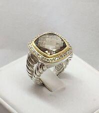 DAVID YURMAN Smoky Quartz & Diamonds 925/18k Yellow Gold 19mm Albion Ring Sz. 7