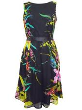 FIRST AVENUE BLACK/MULTI FLORAL CHIFFON PARTY DRESS - SIZES 10 - 20