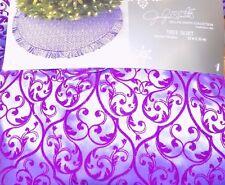 "NEW 52"" Purple Sparkle Scroll w/ Ruffle Christmas Tree Skirt NWT - FREE SHIPPING"