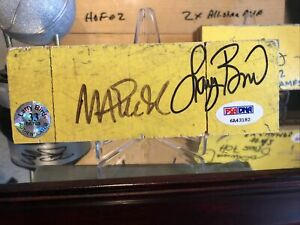 Magic Johnson Larry Bird signed Lakers Game Used Floor board PSA/DNA & Bird Holo