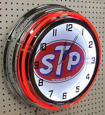 """18"""" STP The Racers Edge Sign Double Neon Clock"""