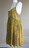 Small Yellow Free People Flowy Mini-dress with Back Braided Strap Detail