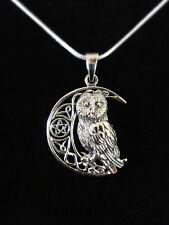 Eule Silver Owl On Moon Anhänger Silber Gothic Schmuck - NEU