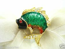 18KGP Sea Bass Fish Swarovski Element Austrian Crystal Rhinestone Brooch Pin