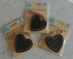 "Lot of 12 Chalkboard Tags 3"" Large Heart Shape With Ties wedding gift country"