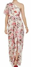 Adrianna Papell Floral Chiffon Gown One Shoulder BEAUTIFUL NWT sz 6 Ivory & Rose