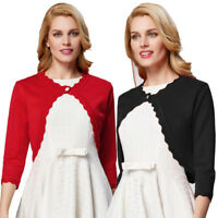 Women's Long Sleeve Bolero Shrug Eyelet Trim Crop Cardigan Top Sweater Knitted