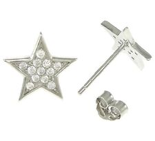 STAR Stud Earrings - Christmas - Genuine Solid 925 Sterling silver- CZ pave-10mm